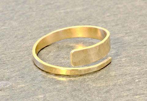 14k Hammered Solid Yellow Gold Hammered Bypass Ring, NiciArt