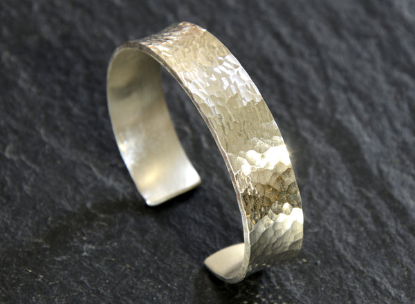 Hammered Sterling Silver Massive Anticlastic Cuff Bracelet