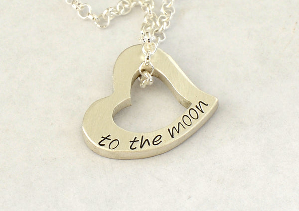 Heart Charm Necklace in Sterling Silver with to the Moon