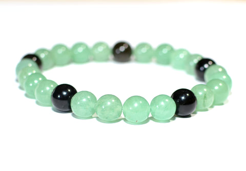 Gemstone Beaded Bracelet with Green Jade and Tiger Eye