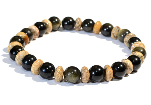 Tiger Eye and River Jasper Beaded Gemstone Bracelet or Anklet