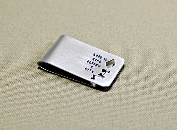 Aluminum love is like flying a kite money clip, NiciArt