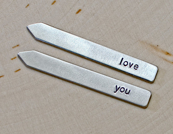 Collar stays with personalized love you message, NiciArt