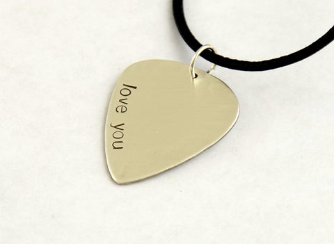 I Love You Guitar Pick Necklace in Sterling Silver, NiciArt