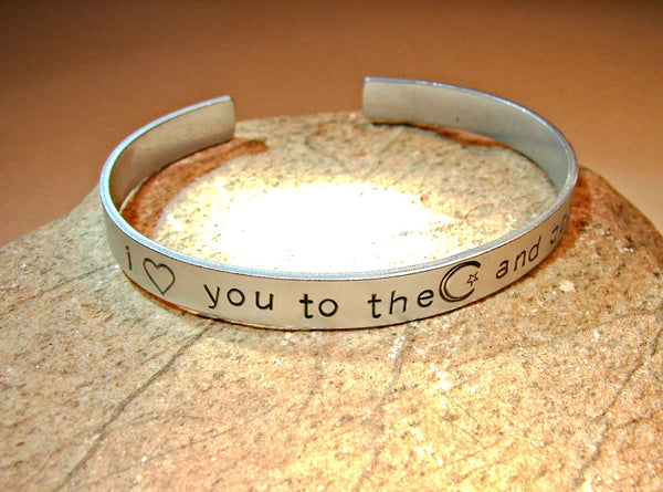 Love you to the moon and back ideograms bracelet in aluminum