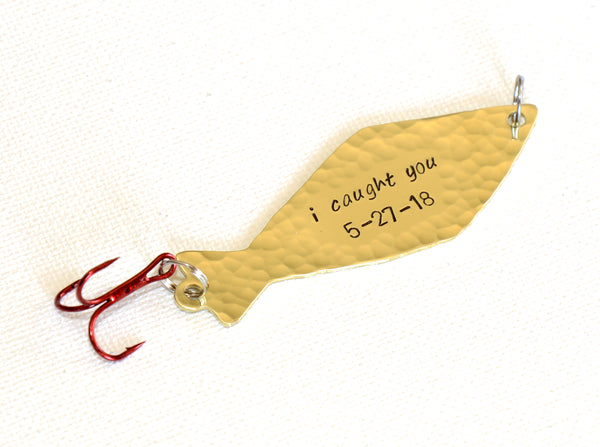 I Caught You Anniversary Fishing Lure in Brass