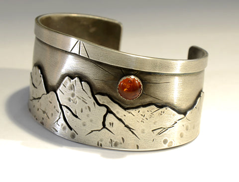 Amber Moon over Mountains Handmade Sterling Silver Bracelet, NiciArt