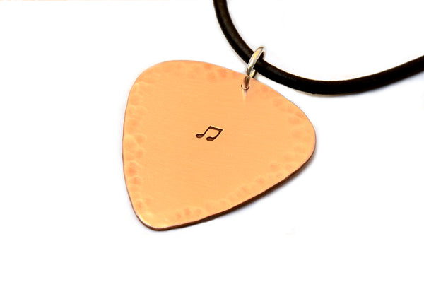 Hammered Copper Guitar Pick Necklace with Music Note