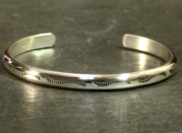 Dainty Half Round Elegant Sterling Silver Bracelet Imprinted with Native American Metal Stamps