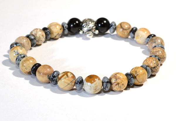 Beaded Gemstone Bracelet or Anklet with Snowflake Obsidian and Jasper