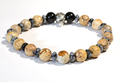 Beaded Gemstone Bracelet or Anklet with Snowflake Obsidian and Jasper, NiciArt
