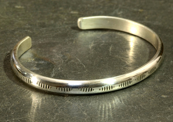 Modern Sterling Silver Dainty Bracelet with Handmade Native American Metal Stamps on Half Round Form