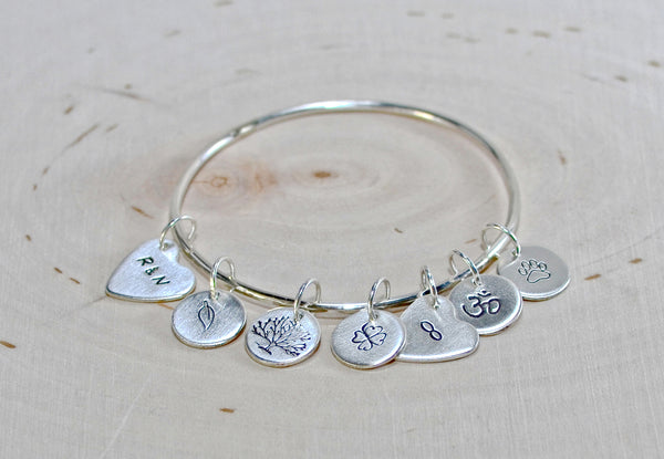 Sterling silver personalized charm bangle