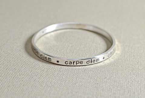 Sterling silver bangle with carpe diem
