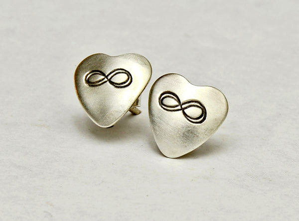 Infinity Sterling Silver Stud Earrings in Heart Shape