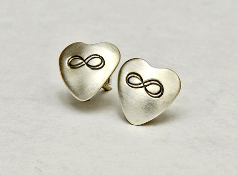Infinity Sterling Silver Stud Earrings in Heart Shape, NiciArt