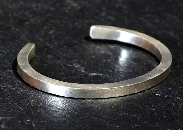Modern Bracelet in Square Shape Thick 925 Sterling Silver