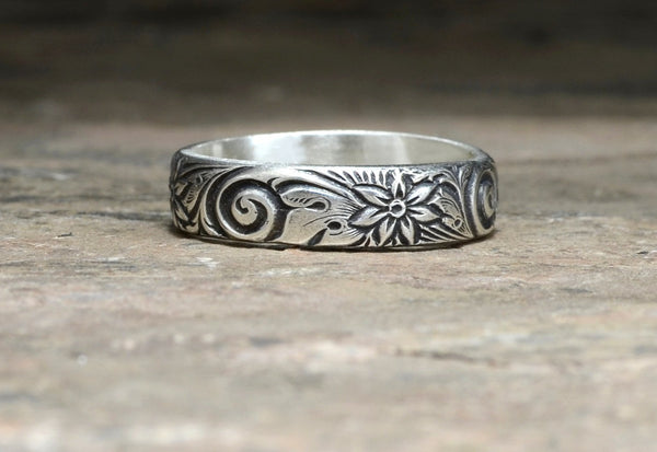 Botanical Floral Pattern Sterling Silver Ring, NiciArt