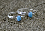 Turquoise Dainty Sterling Silver Ring Set or Individual Rings, NiciArt