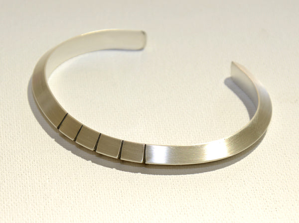 Simple Elegance Sterling Silver Modern Cuff Bracelet with Linear Design