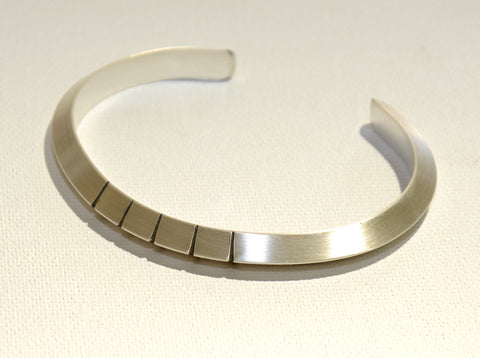 Simple Elegance Sterling Silver Modern Cuff Bracelet with Linear Design, NiciArt