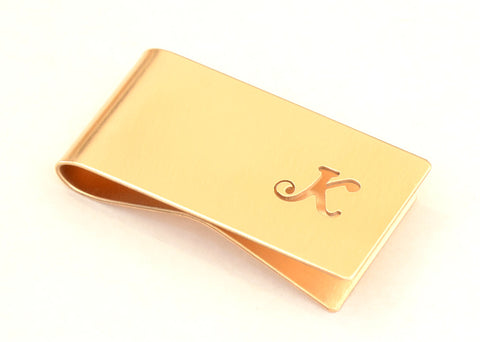 Bronze Money Clip Personalized with Hand cut Calligraphy inspired Initial – Perpendicular to Length Orientation, NiciArt