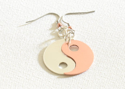 Yin Yang Earrings in Copper and Sterling Silver, NiciArt