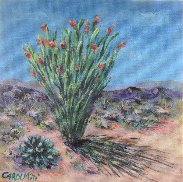 Impressionistic Ocotillo in Full Bloom after Desert Rain