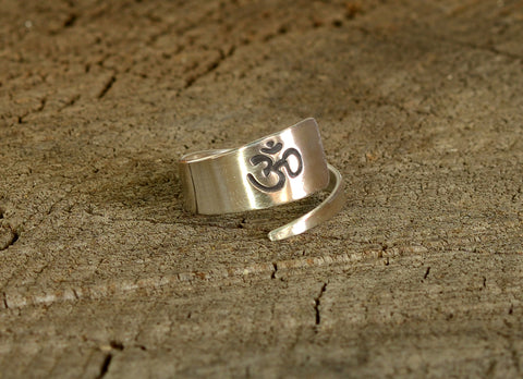 Yoga Inspired Sterling Silver OM Wrap Ring, NiciArt