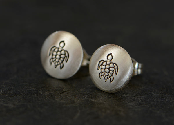 Sea Turtle Sterling Silver Button Earrings