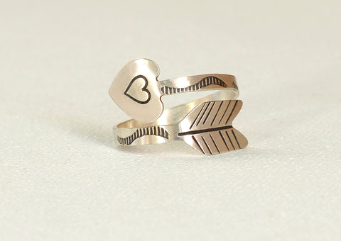 Heart Arrow Sterling Silver Wrap Ring, NiciArt