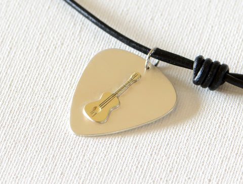 Brass Guitar on Sterling Silver Guitar Pick Necklace - a Fusion of Metal Art and Music, NiciArt