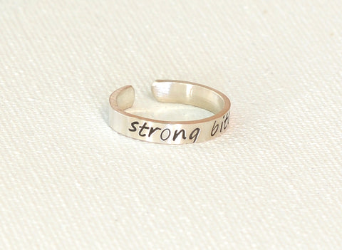 Strong Bitch Sterling Silver Toe Ring, NiciArt