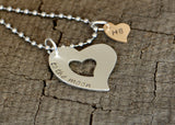 To the Moon Triple Heart and Name Charm Necklace, NiciArt