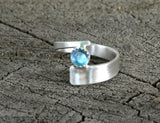 Blue Topaz on Sterling Silver Wrap Ring, NiciArt