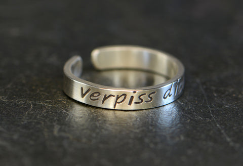 "Verpiss Dich Sterling Silver Toe Ring – Go ""Screw Yourself"" or Piss Off German Ring, NiciArt"