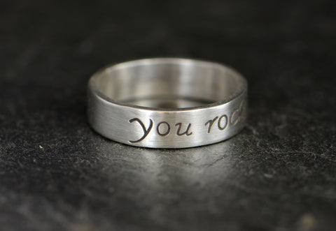 You Rock Inspirational Ring in Sterling Silver, NiciArt