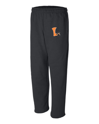 "Adult Open Bottom Sweatpants ""L"" Logo"