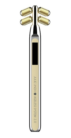 The Ageless System Beauty Wand 2.0. 3-in-1 Microcurrent Facial Roller - JULIE LINDH