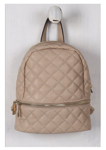 Vegan Leather Quilted Mini Backpack