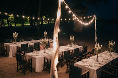 Romantic beach wedding at night