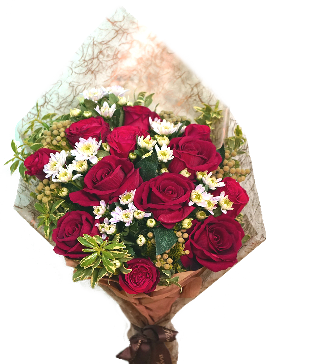 HB079 – Red roses with white pink margeret & burnia