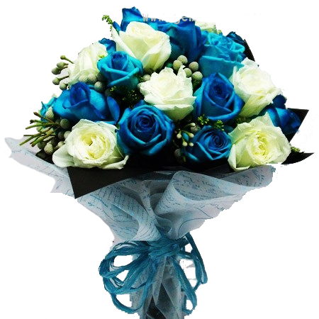 HB010 – White/Blue Rose