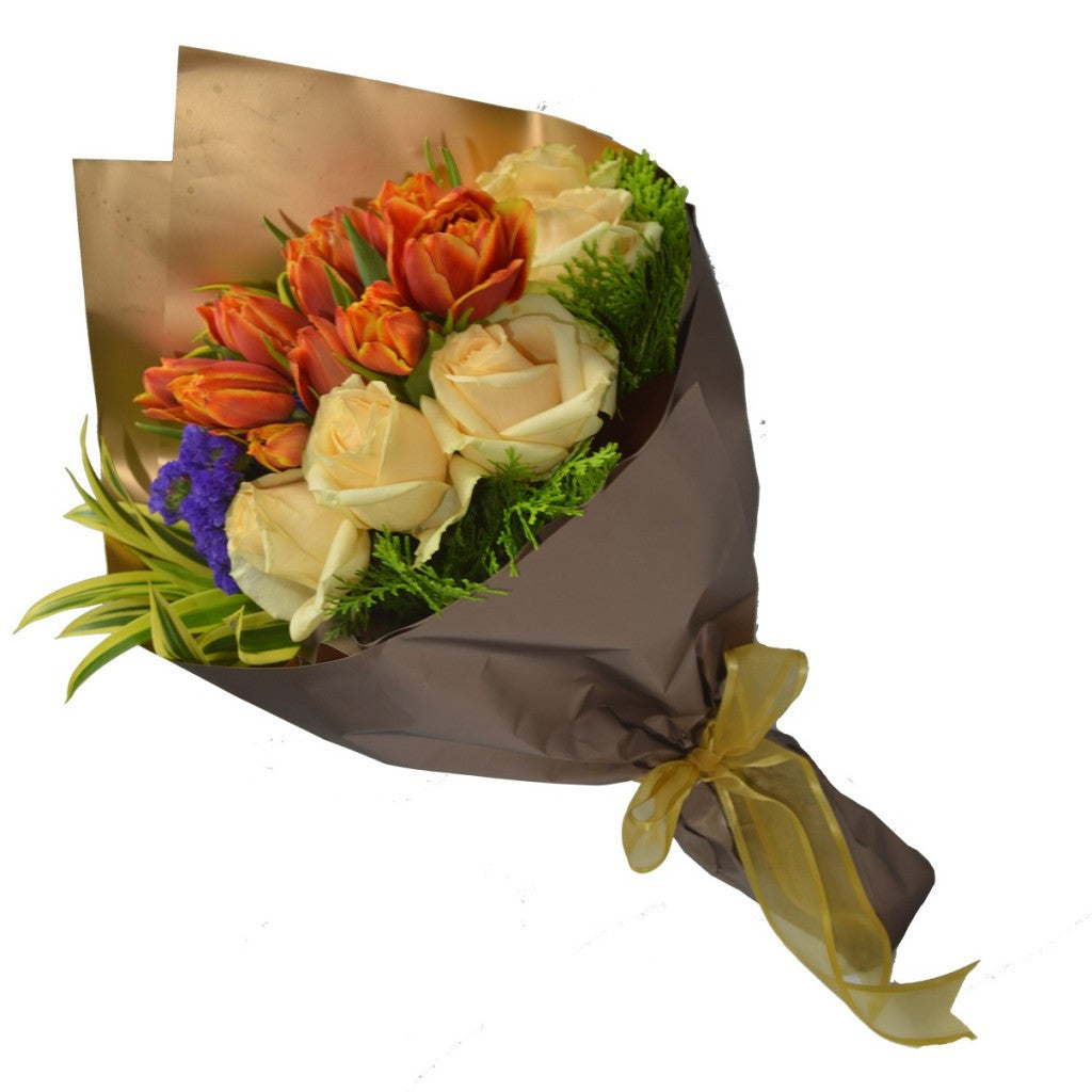 HB046 – Orange Tulip and Champagne Roses