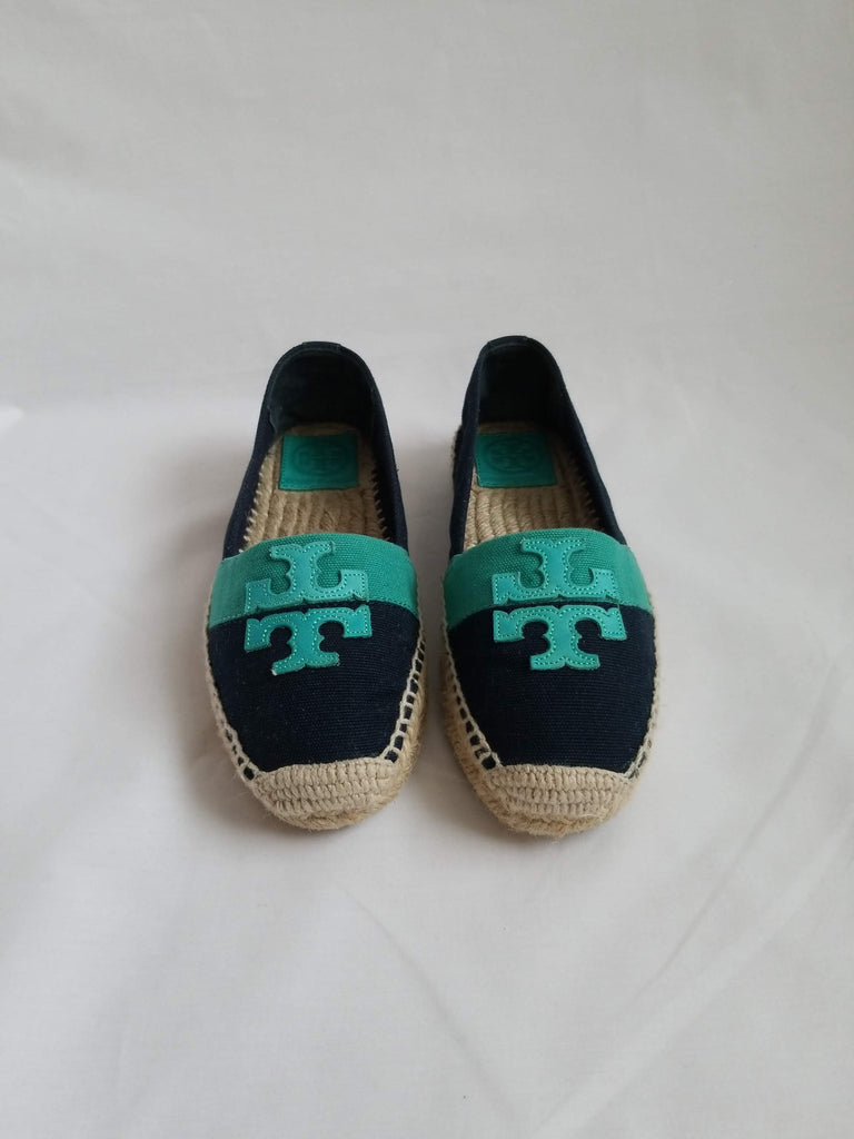 2eb5152e046 Tory Burch Navy Turquois Canvas Espadrille – Petal s Rose® Resale Boutique