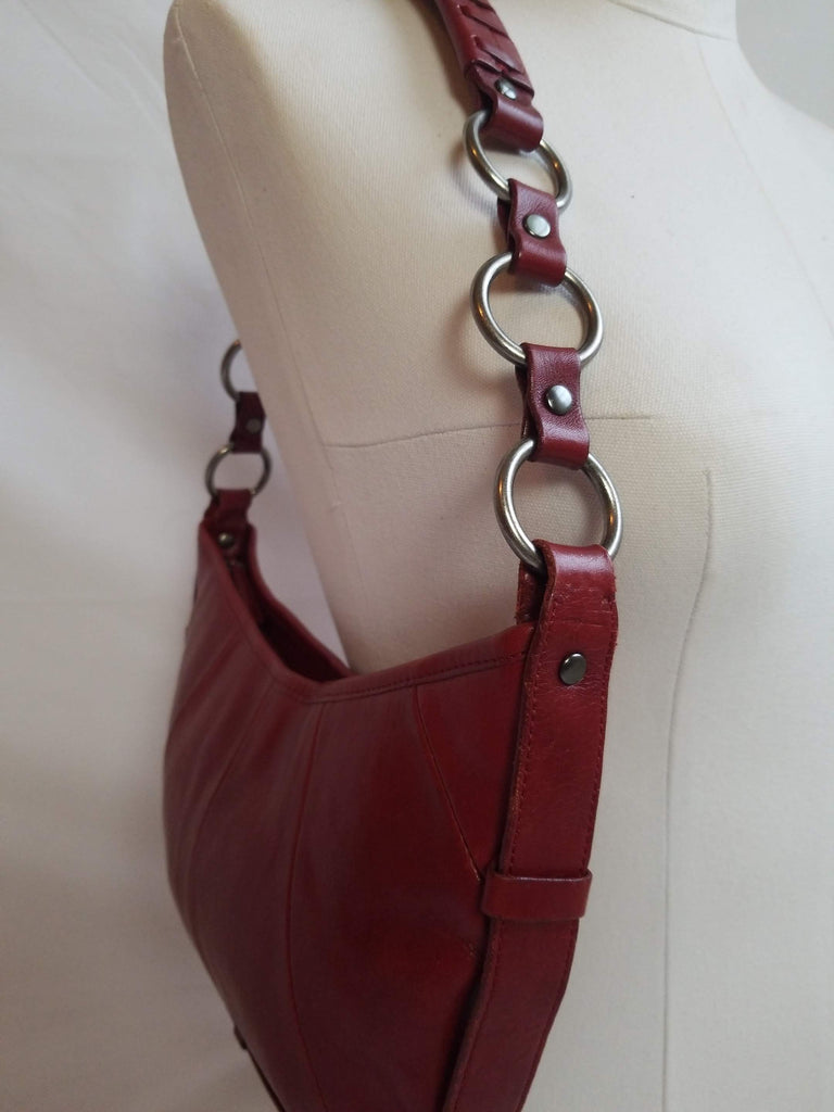 40581a4227c Enzo Angiolini Red Wine Heavy Leather Hobo Purse – Petal's Rose® Resale  Boutique