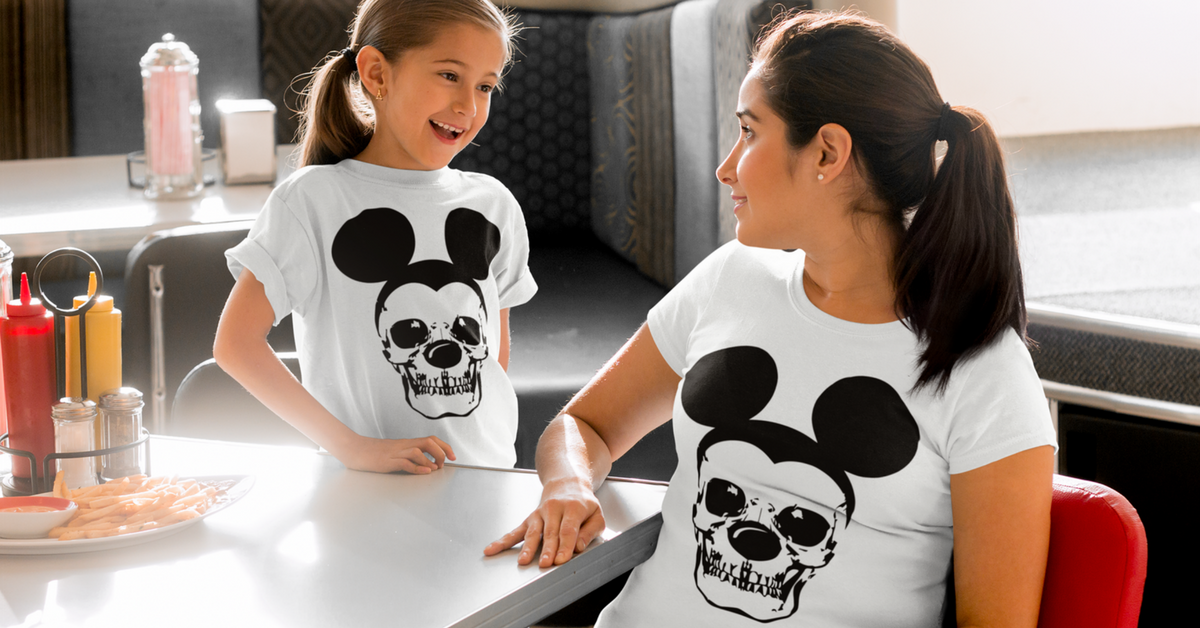 638f1e86def9 Matching Mom   Baby Skull Mickey Mouse T-Shirt