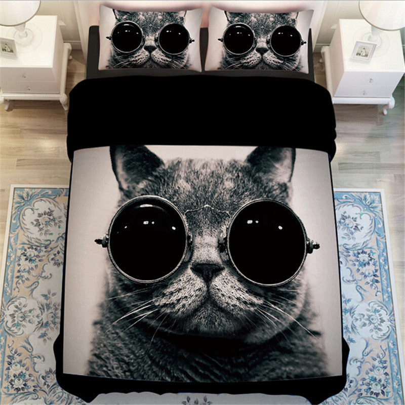 Cat with Glasses Bed Sheet Set