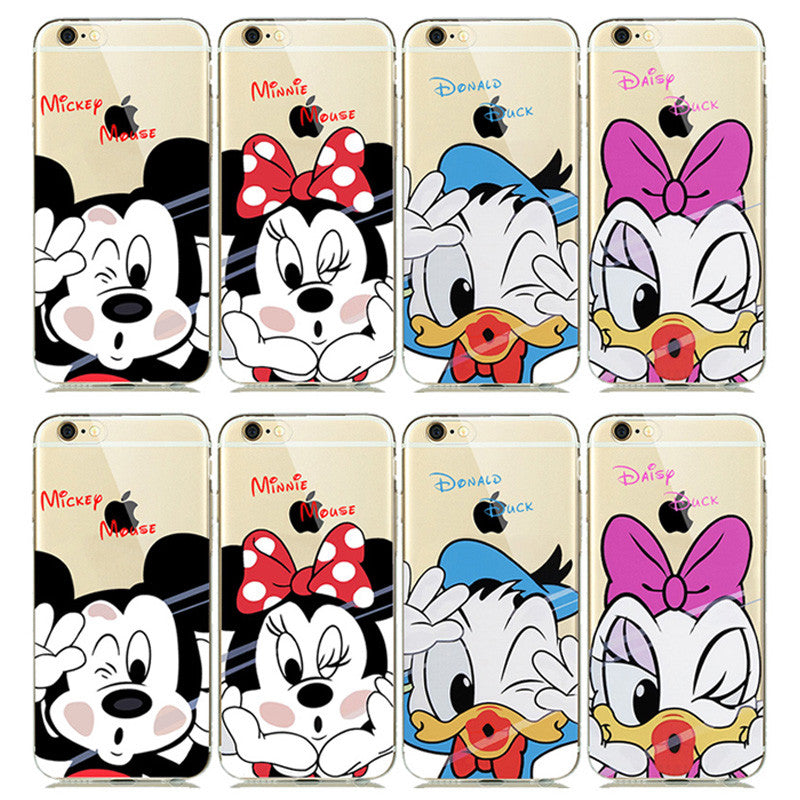 best website a5893 e4280 ULTRA Slim Fitting Skin Soft Clear Rubber Silicone Cover for iphone 5s 6 6s  Plus Cute Mickey Minnie Mouse Donald Daisy Duck Case