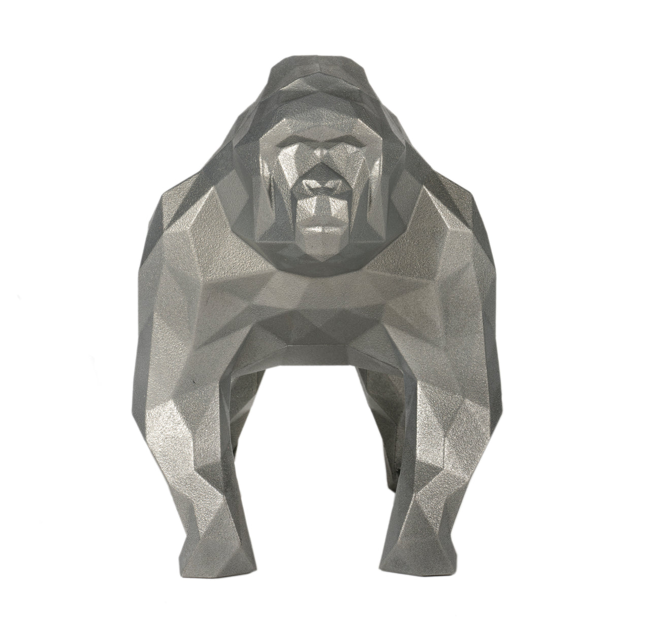 Gorilla Geometric sculpture - Gus in Metallic Silver